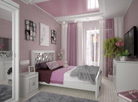 розовые обои в интерьере фото